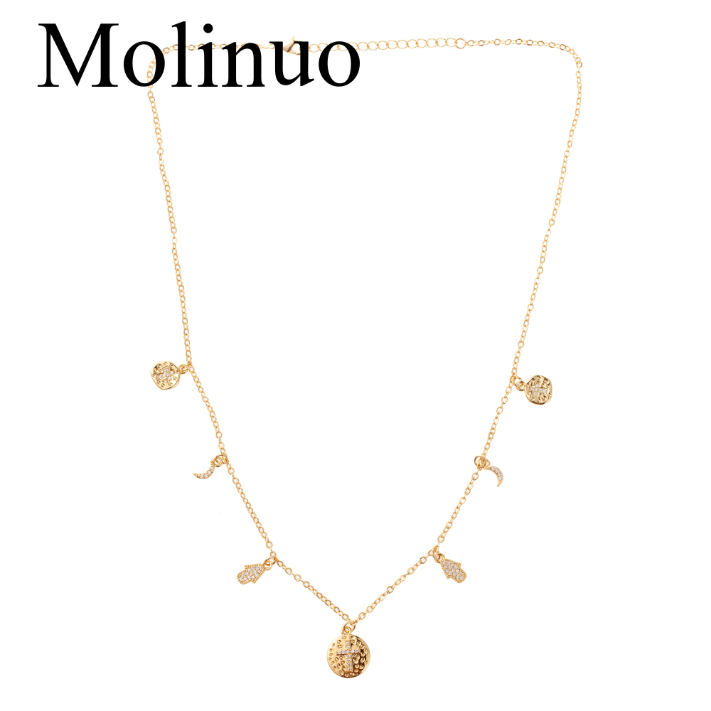 Molinuo star moon cross shape pendant women 39 s necklace fashion lady customizable necklace in Pendant Necklaces from Jewelry amp Accessories