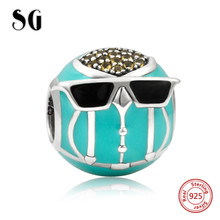 SG cute owl wearing cool glasses Charms 925 Sterling Silver Beads with enamel&CZ Fit pandora Bracelet DIY Jewelry for Gift sg original owl charms with cz