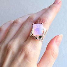 Large Rectangle Pink Zirconia Ring Silver-Color Jewellery Beautiful Big Rings for Women Latest Fashion