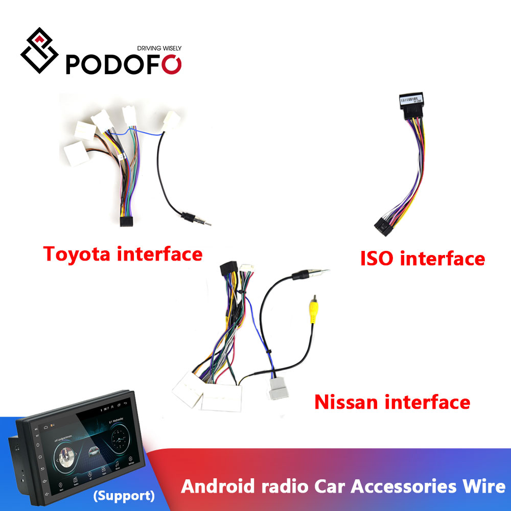 Podofo Android radio Car Accessories Wire Wiring Harness Adapter Connector  Plug Universal cable For Focus Kia Nissian Toyota Car|Cables, Adapters &  Sockets| - AliExpressAliExpress