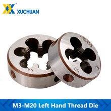 Máquina de rosca manual esquerda m3 m6 m8 m10 m12 m14 m16 m18 m20, máquina para trabalhar em metal, 1 peça morrer métrico