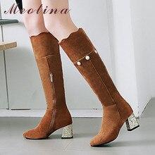 купить Meotina Winter Knee High Boots Women Glitter Thick High Heels Long Boots Pearl Zipper Square Toe Shoes Ladies Autumn Size 33-43 дешево