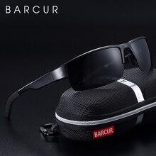 BARCUR Semi Rimless Polarized Aluminium Magnesium Sunglasses Sport Sun glasses Male Female Oculos Gafas De Sol