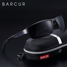 BARCUR yarı çerçevesiz polarize alüminyum magnezyum güneş gözlüğü spor güneş gözlüğü erkek kadın Oculos Gafas De Sol