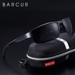 Image 1 - Barcur 半リムレス偏光アルミニウムマグネシウムサングラススポーツサングラス男性女性 oculos gafas デゾル