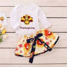 Newborn Infant Baby Girl First Thanksgiving Turkey Letter Romper Skirt Dress Outfit Autumn Clothing(China)