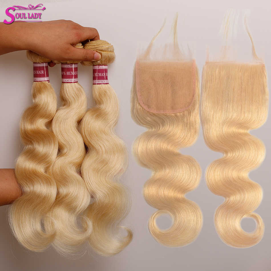 Peruvian Remy Hair Bundles With Closure Soul Lady Body Wave Honey Platinum Blonde Hair With Closure 3 613 Bundles with Closure