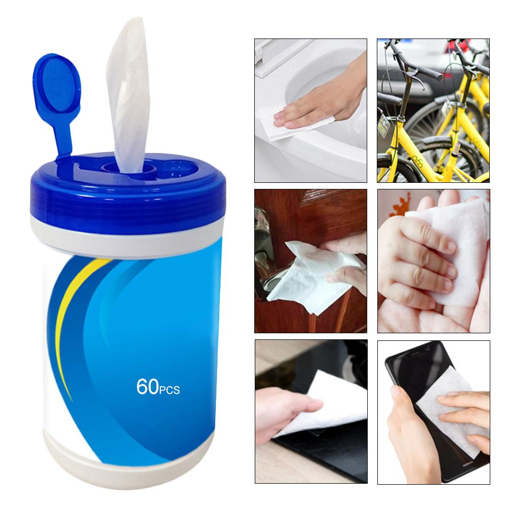 60PCS Disposable Wet Wipes Moist Non-Woven Fabrics Cleaning Wipes Disinfection Towelettes For Adults Baby Car Cleaning