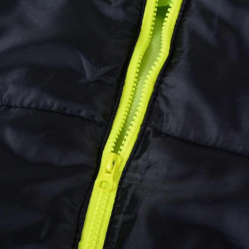 Los hombres abrigo de invierno bloque de Color con cremallera chaqueta con capucha de algodón acolchado abrigo de corte Slim de moda espesar cálido prendas de vestir chándal