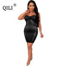 Qili женское сексуальное платье без бретелек из искусственной