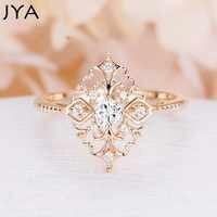 JYA Retro anillos de mujer estilo barroco de lujo rosa de oro forma de flor anillo de boda declaración joyería Vintage accesorio de Diamante
