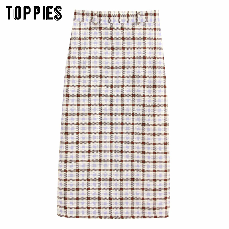 Vintage Lattice Skirts Womens Midi Skirts High Waist Straight OL Faldas 2020 Spring Streetwear