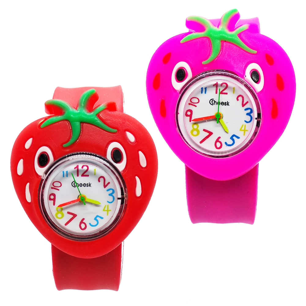 Children Watch Wholesale 2019 New Kids Watches Cartoon Strawberry Pineapple Pattern Toys Tape Patted Clock Girls Boys Xmas Gift