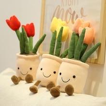 35cm Lifelike Tulip Succulent Plants Plush Stuffed Decoration Toy Soft Bookshelf Decor Doll Potted Flowers Pillow for Girls Gift