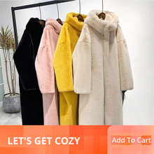 2019 Winter Women Faux Rabbit Fur Coat Loose Hooded OverCoat Thick Warm Plus Size Long Female Plush Coats  LJLS127