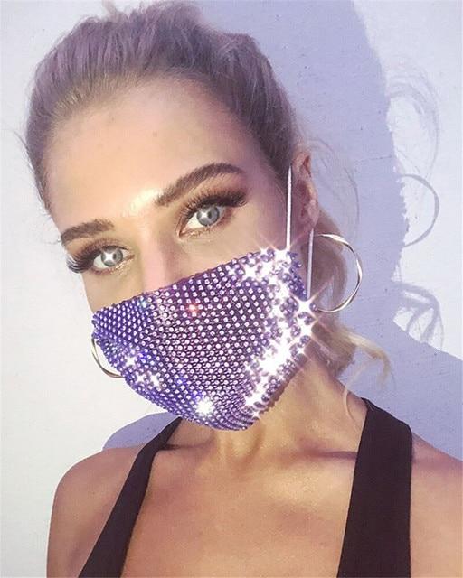 2020 Rhinestone Grid Masks Rhinestone Accessories Masks Makeup Party Fashion Masks Chic Ball Mask  Kpop Mask  Blackpink Kpop 5