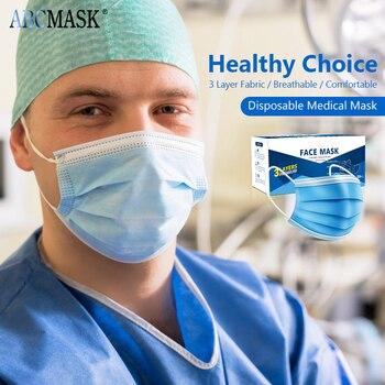 1/200pcs Medical disposable mascarilla Mask Breathable Masks 3-layer Anti-bacteria Surgical mouth Face Protect Masks mascarillas
