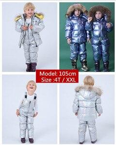 Image 2 - Nova rússia jaqueta de inverno para meninas & meninos casacos crianças outerwear, pato quente para baixo crianças menino roupas de esqui parka brilhante snowsuit