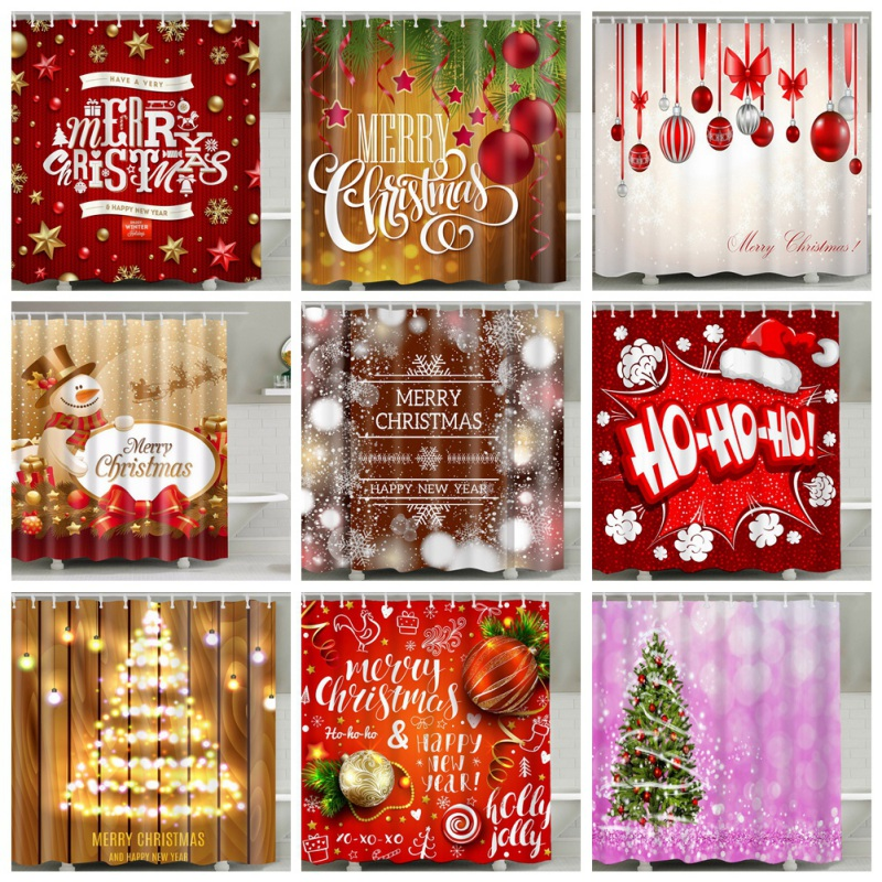Christmas Home Bath Decorative Shower Curtain Set HD Printed Polyester Bath Covers With 12 C Shape Hanging Hooks 70 X 70Inch