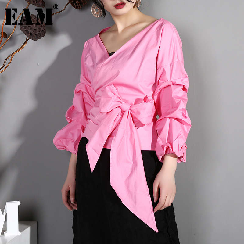 [EAM] Women Blouse Bandage Temperament  New V-collar Long Puff Sleeve Loose Fit Shirt Fashion Tide Spring Autumn 2020 AK3161