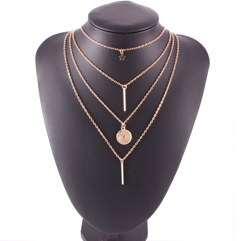 Vintage Multilayer Butterfly Pendant Necklaces For Women Fashion Moon Star Charm Gold Choker Necklace Bohemian Jewelry Party