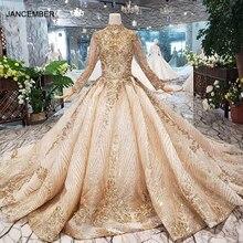 LS20470 יוקרה מוסלמי שמלות כלה גבוהה צוואר מבריק פאייטים לשרוך בחזרה בעבודת יד אפליקציות כלה שמלת זהב ślub