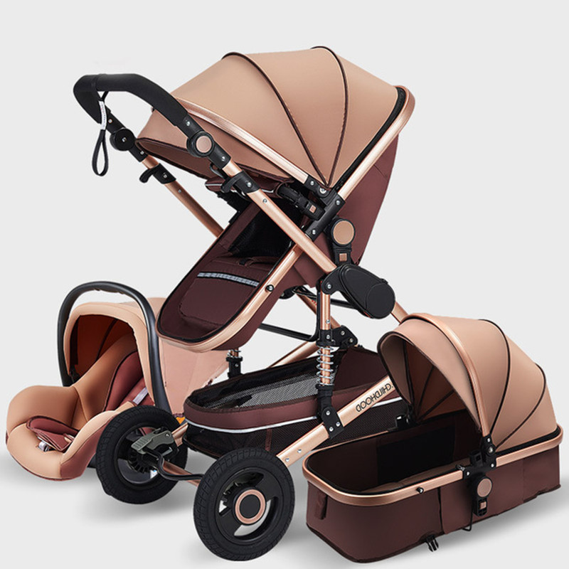 Luxurious Baby Stroller 3 In 1 Portable Travel Baby Carriage Fold Pram High Landscape Aluminum Frame Stroller For Newborn Baby