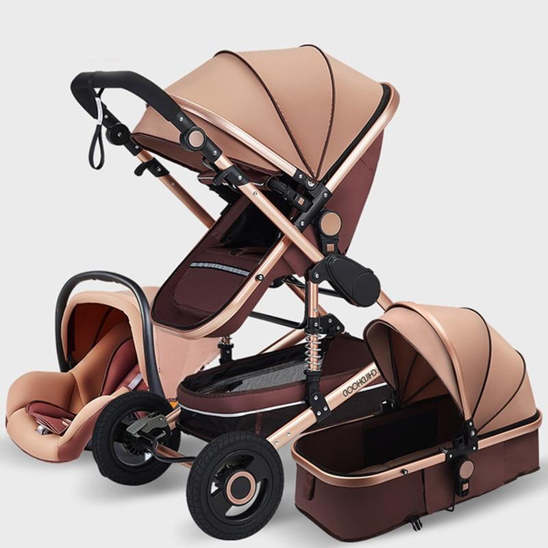 Luxurious Baby Stroller 3 In 1 Portable Travel Baby Carriage Fold Pram High Landscape Aluminum Frame Stroller For Newborn Baby