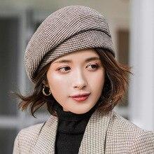 2019 new Elegant Women Plaid Beret For fashion Winter Female Cotton Wool Hats Ca