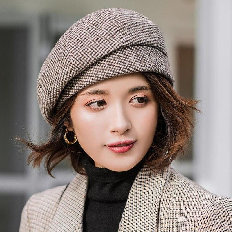 2019 Новый элегантный женский головной убор в клетку для модных зимних женских хлопковых шерстяных шляп осень 2019 новый бренд Женская малярная шляпа|Женские береты|   | АлиЭкспресс