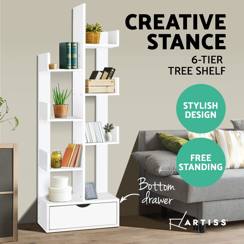Modern Artiss Wooden Tree Storage Display Shelf Bookcase CD Rack Shelving Unit Drawer White Multilayer Storage Cabinet A2
