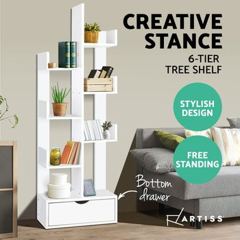 Modern Artiss Wooden Tree Storage Display Shelf Bookcase CD Rack Shelving Unit Drawer White Multilayer Storage Cabinet A2
