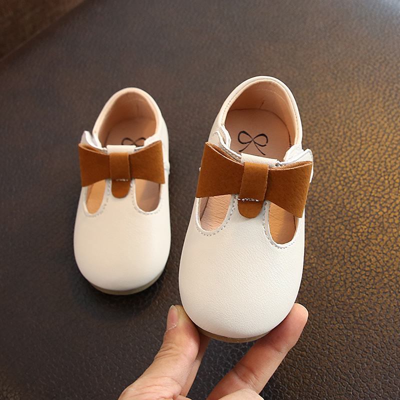 Children's Flats New Butterfly-knot Princess Party Performance Shoes Big Student Girl Shoes For Kids Soft Sole Leather Flats