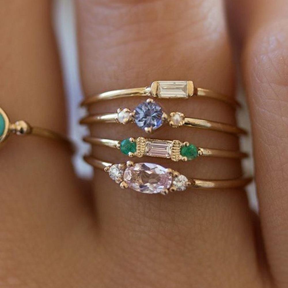 FDLK   4 Pcs/set Crystal Zircon Gold Ring Set 2020 Vintage Bohemian Women Engagement Party Ring Set Jewelry