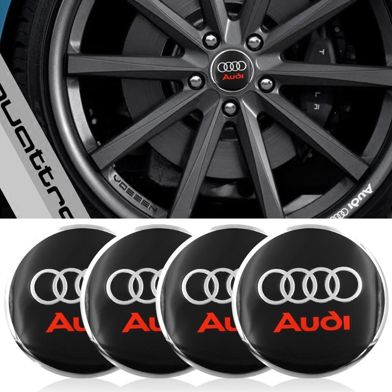 4pc Auto reifen Rad mitte abdeckung Radkappen Dekorative Aufkleber Für Audi a3 a4 a5 a6 a7 a8 b5 b6 b7 b8 c6 c7 c8 8v 8p auto zubehör