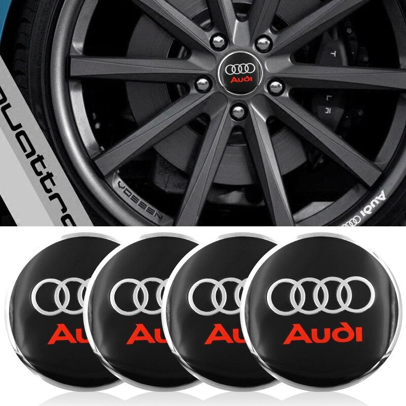 4pc Car Tire Wheel Center Cover Hubcaps Decorative Sticker For Audi A3 A4 A5 A6 A7 A8 B5 B6 B7 B8 C6 C7 C8 8v 8p Car Accessories