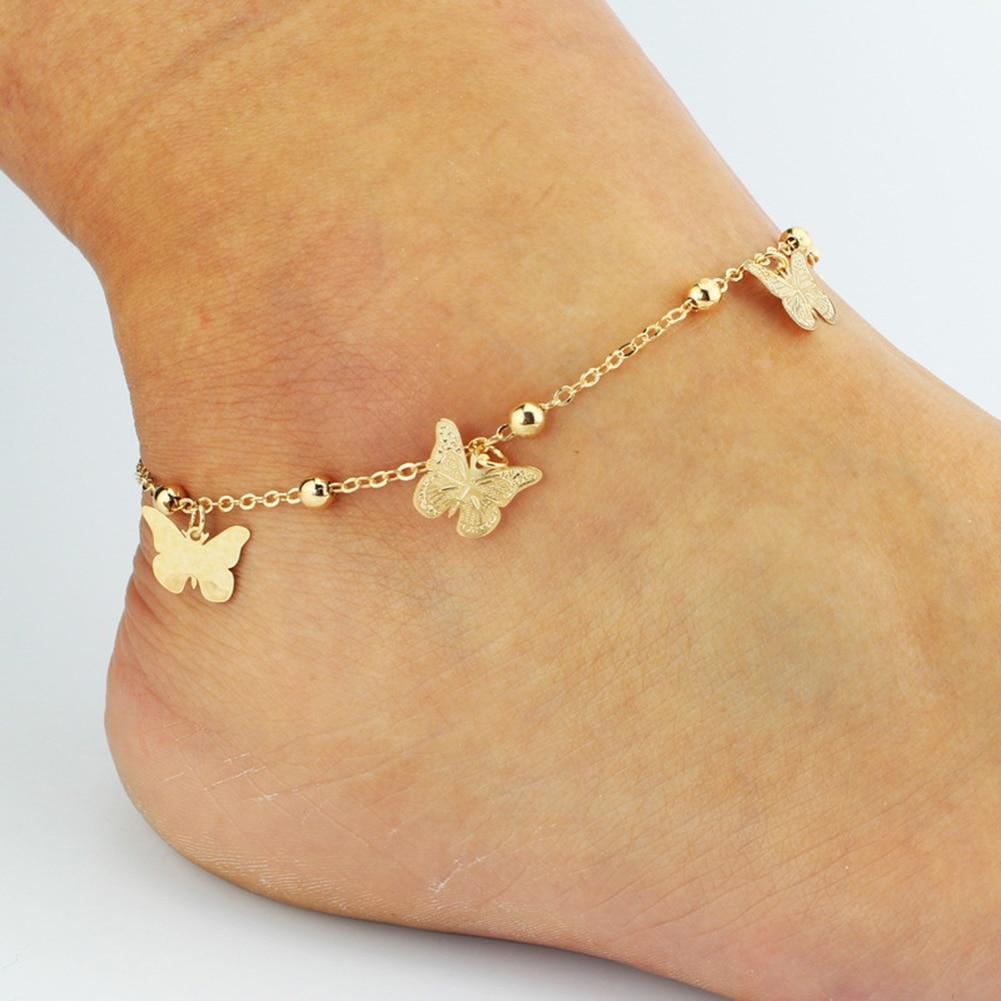 Браслет на ногу женский из нержавеющей стали, анклет с кулоном в виде стрекозы, бабочки, насекомых, пляжные богемные полусапожки, цепочка дл...