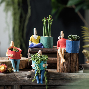 Abstract Cartoon Ceramic Flower Pot Meditating Doll Character Sculpture Desktop Decoration Garden Creative Potted Home Decor
