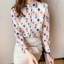 Korean Women Shirts Chiffon Blouses Women Long Sleeve Shirt Woman Polka Dot Shirts Top Ladies Print Blouse Tops Plus Size Shirt