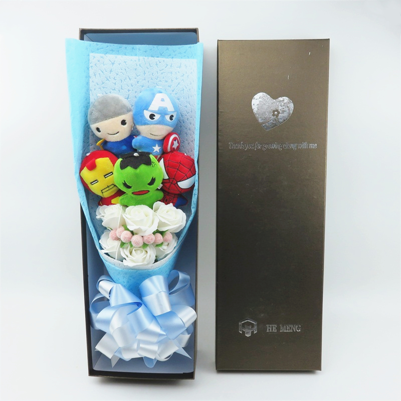 Cartoon Anime Plush Toy Cartoon LED Bouquets With Artificial Flowers Valentine's Day Graduation Gifts