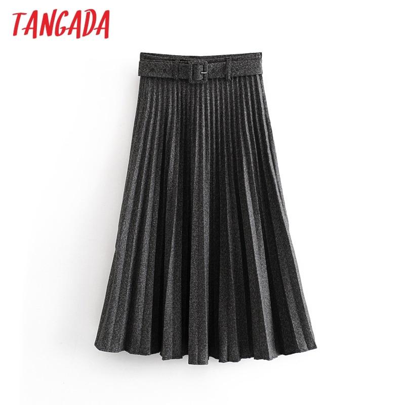 Tangada Women Gray Pleated Midi Skirt Faldas Mujer 2019 Winter Vintage Zipper Office Ladies Elegant Chic Mid Calf Skirts 6A311
