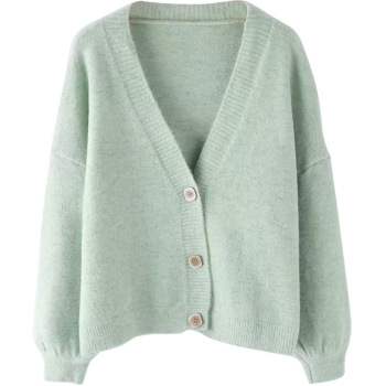 Autumn and winter cardigan jacket womens short sweater loose V-neck single breasted new autumn women