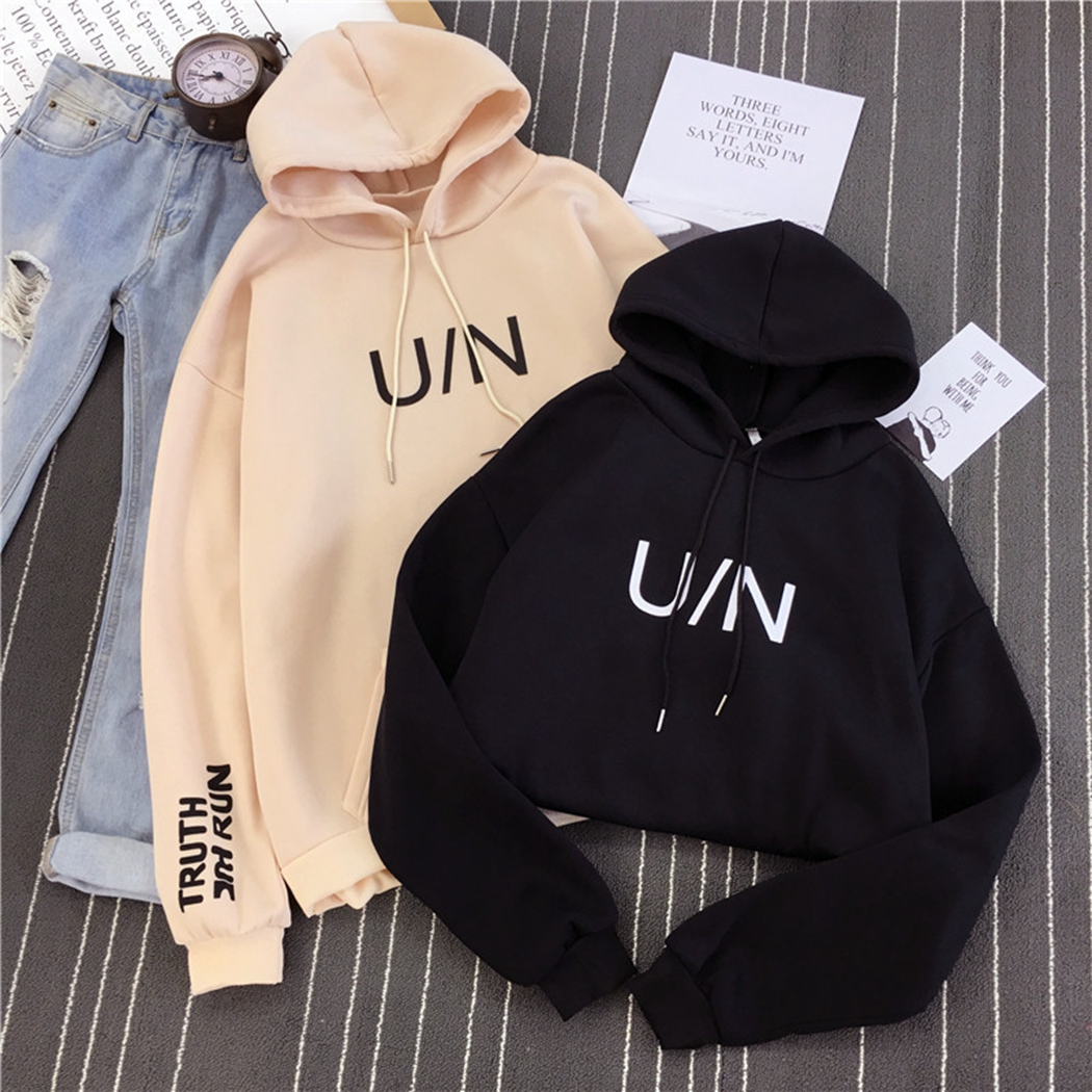 Fashion Casual Pockets Harajuku Letter Print Hoodies Pullover Women Plain Color Loose Hooded Sweatshirts Coat Female