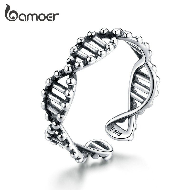Bamoer Original Design 925 Sterling Silver DNA Open Adjustable Finger Rings For Women Free Size Ring Fashion Jewelry SCR643