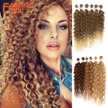 FASHION IDOL Afro Kinky Curly Hair Bundles Synthetic Hair Extensions 24-28inch 6Pcs Lot Ombre Blonde Hair Weaves For Black Women cheap High Temperature Fiber CN(Origin) Machine One Weft 100g(+ -5g) piece 1 Piece Only W-HB3045 24 26 28 6PCS 260G 24 26 28 Inches