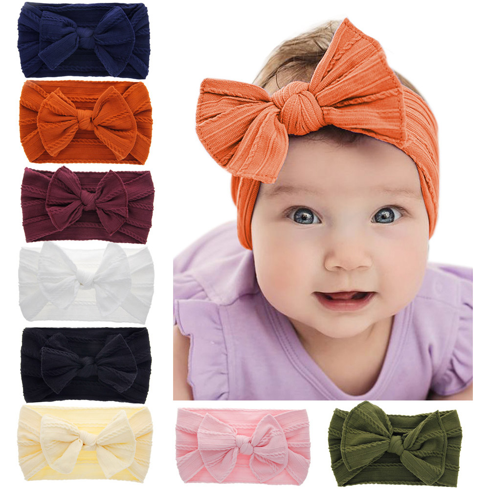 2019 New Children Kid Girl Baby Headband Toddler Nylon Bowknot Cute Hair Band Solid Candy Color Headwear Hair Accessories