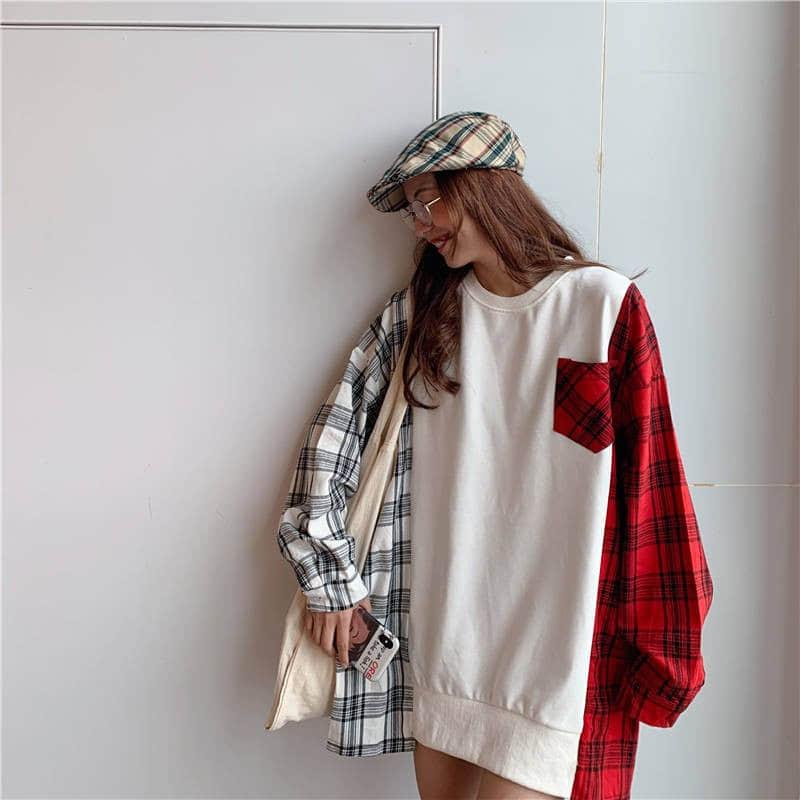 NiceMix Pullover Women's Sweatshirt New Korean Pop Clothes Streetwear Pullover Sweatshirt Women Vintage Contrast Color Plaid Top