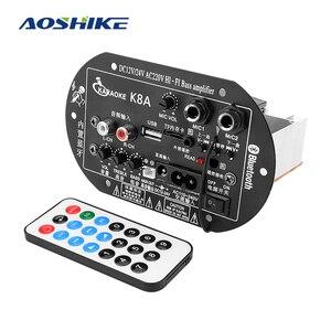 Image 1 - AOSHIKE amplificateur Bluetooth à double Microphone, panneau damplificateur 12V 24V 220V pour caisson de basses de 5 10 pouces, haut parleur bricolage
