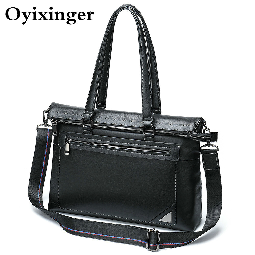 2019 Office Bags For Men Briefcases Genuine Leather Long Handle Handbag Women Business 14.1 Inches Laptop Bag Carteras Hombre