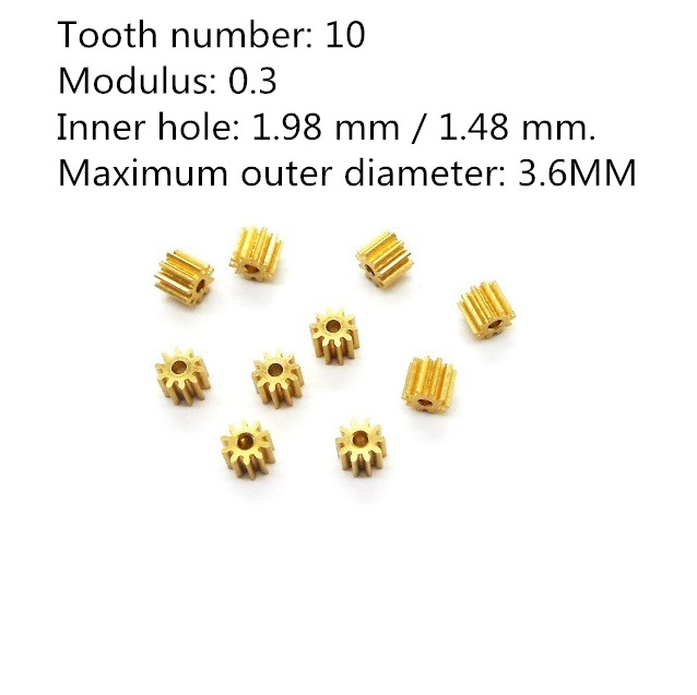 101.5A/ 102A 0.3M Copper Gear 10 Teeth 10T Hole 1.5mm/ 2mm Tight Fitting Small Module Pinions 10pcs/lot